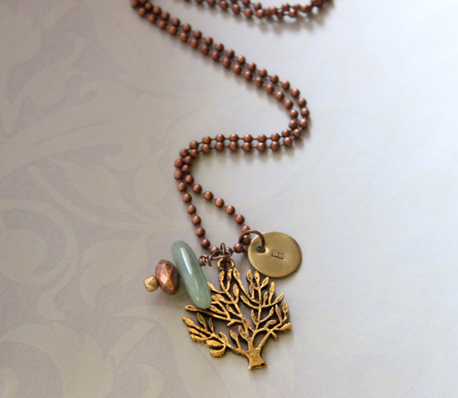 Lovely Tree Of Life With Aventurine Gem Stone In Antique Gold -Copper Tone -Personalize Initials Necklace - RTStyles