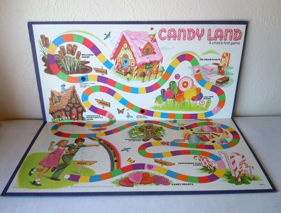 vintage 1978 candy land game board by recycledwares on etsy