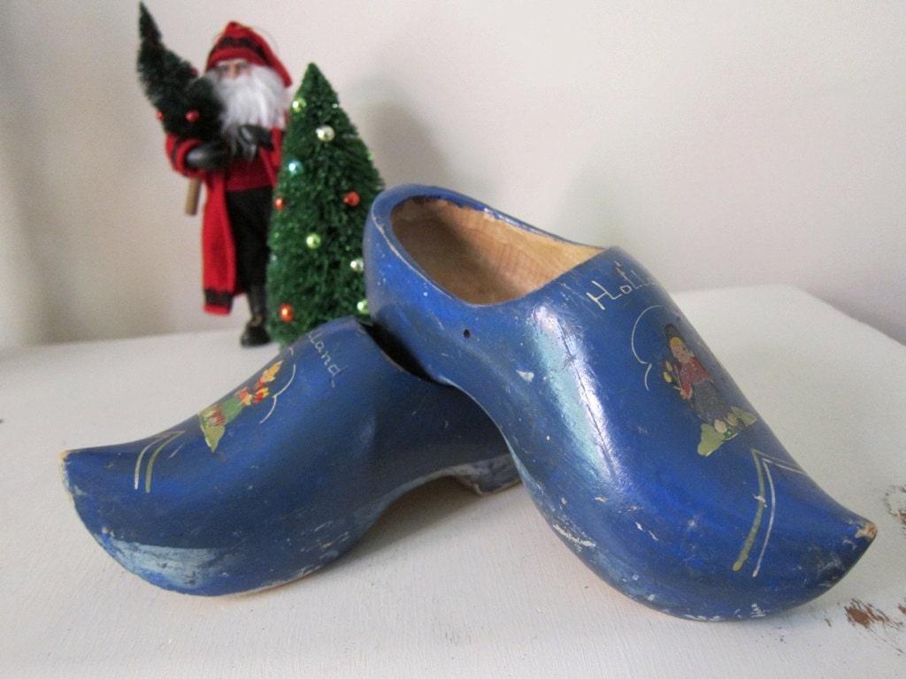 Vintage blue dutch wood shoes clogs saint by thepassionateflea