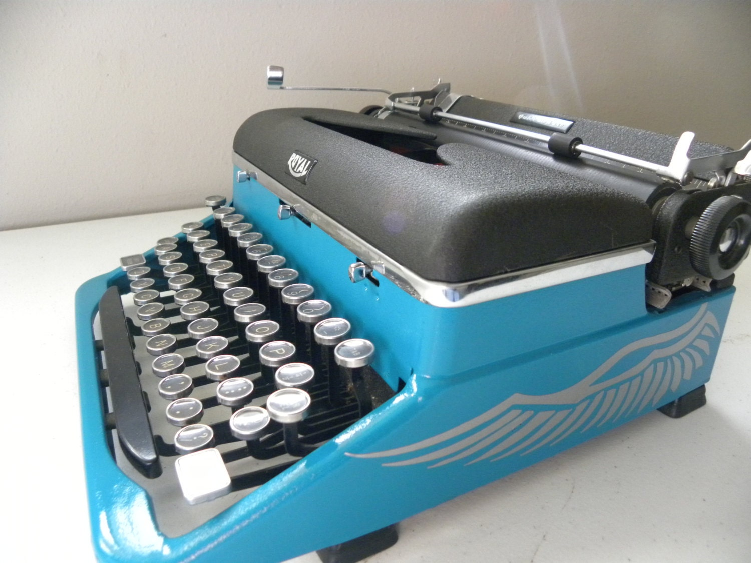 Working Blue Royal Quiet DeLuxe Typewriter - Custom Paint - Winged Series - BlackInkRevival