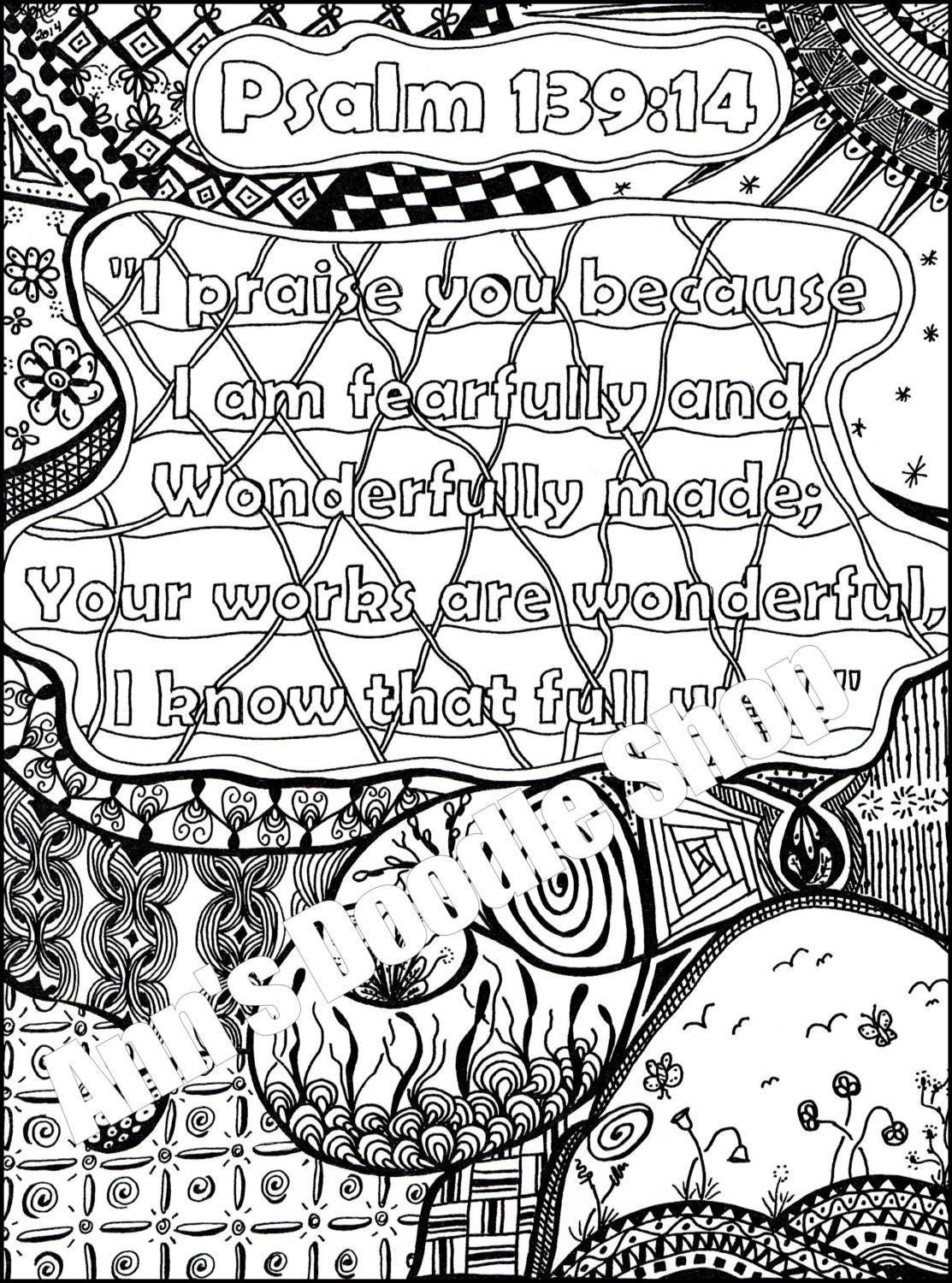 Popular items for memory verse on etsy for Psalm 139 coloring page