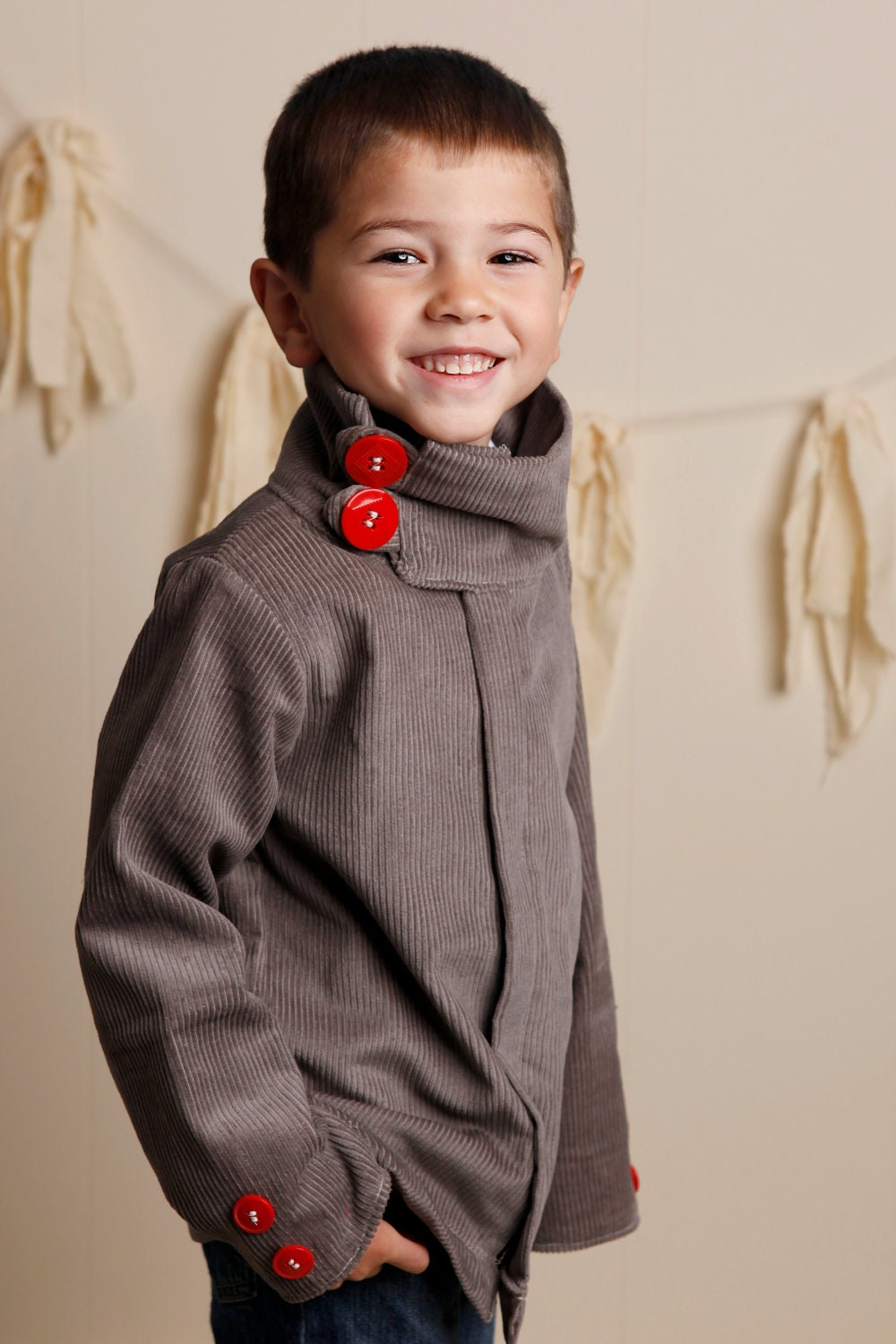 Fall Winter 2012-Little Boy Urban Style Gray Corduroy Weekender Jacket/Coat-Fully Lined with a Zipper 12m, 18m, 2T, 3T, 4T, 5T - babesnbeads