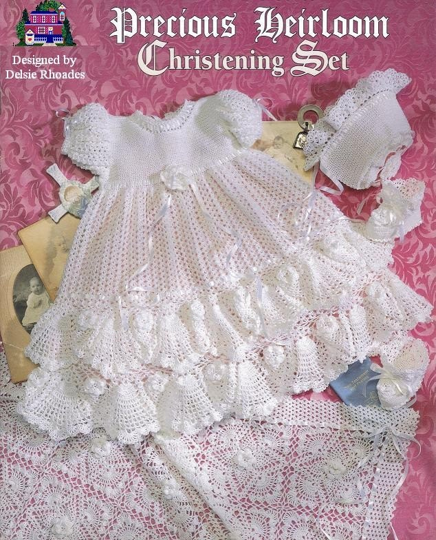 Free Crochet Patterns For Childrens Dresses : CROCHET PATTERN Christening Gown Outfit Baby by DelsieRhoades