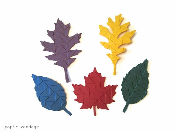 paper leaves, mojave embossed leaves, fall wedding, fall confetti, 20 monaco blue, honey gold, bordeaux, eggplant & emerald colored leaves - papirvendage