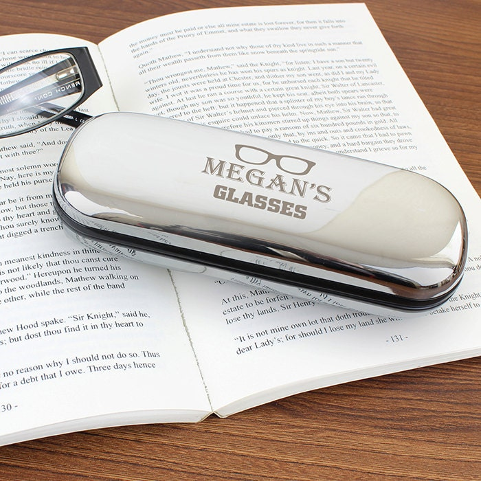 Personalised glasses case Fathers Day gift Birthday gift idea custom glasses case chrome plated glasses case glasses case