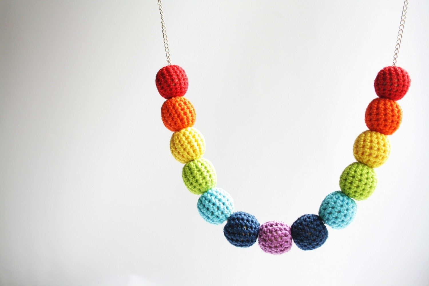 crochet rainbow spring time bead necklace - handmade colorful funky beaded necklace with brass chain, boho style, gift for her - XauXau