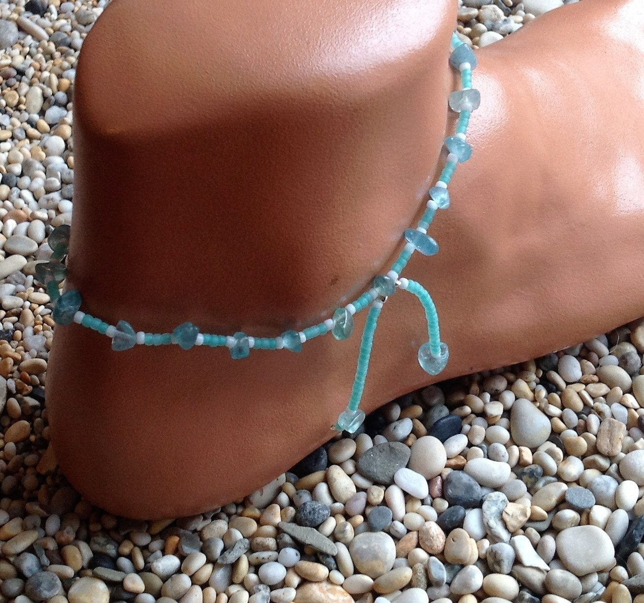 Apatite crystal with bright turquoise blue and white glass beaded anklet with beaded tassels