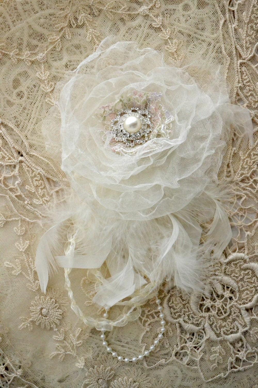 Embellished White Silk Flower Pin