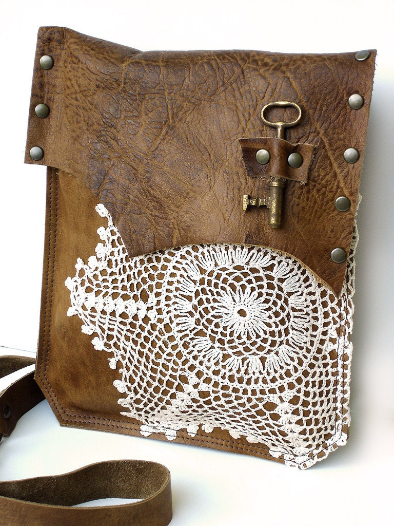 Leather Crochet Bag : Boho Leather Messenger Bag with Crochet Doily and Antique Key - Medium ...