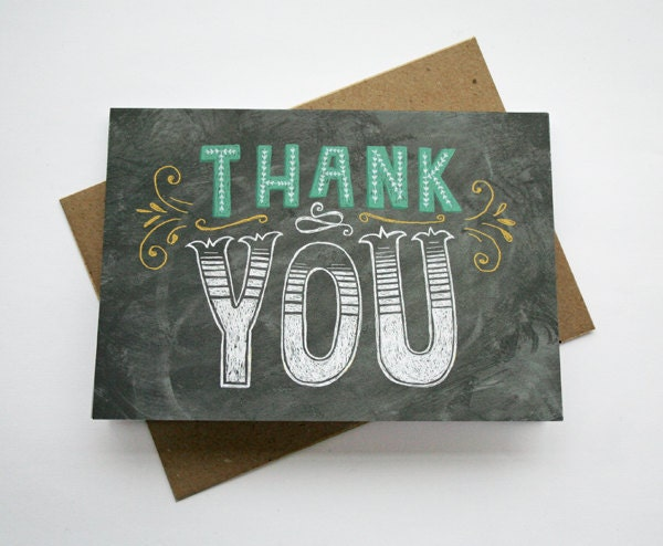 Thank You Card - Chalkboard / Hand Lettering / Typography / Thanks / Vintage / Chalkbord Art - stephsayshello