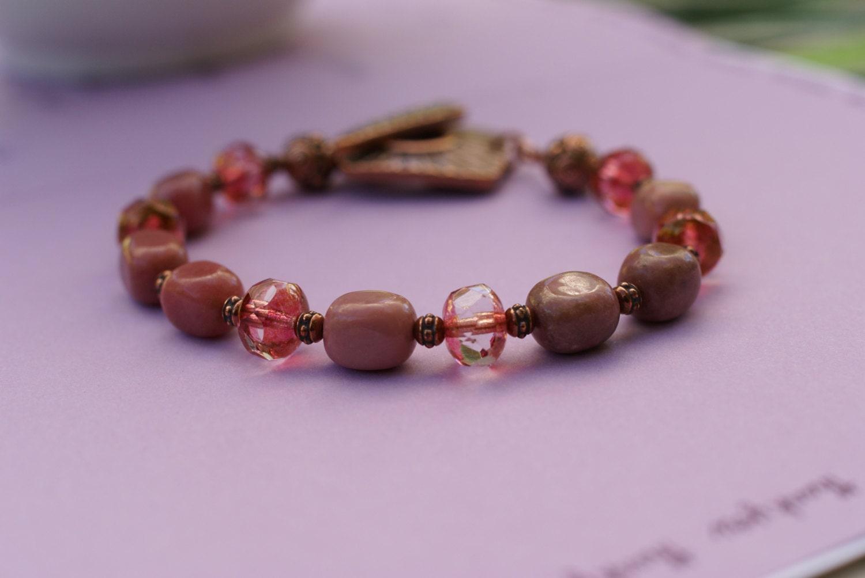 Rhodonite and Czech picasso glass bracelet wi ...
