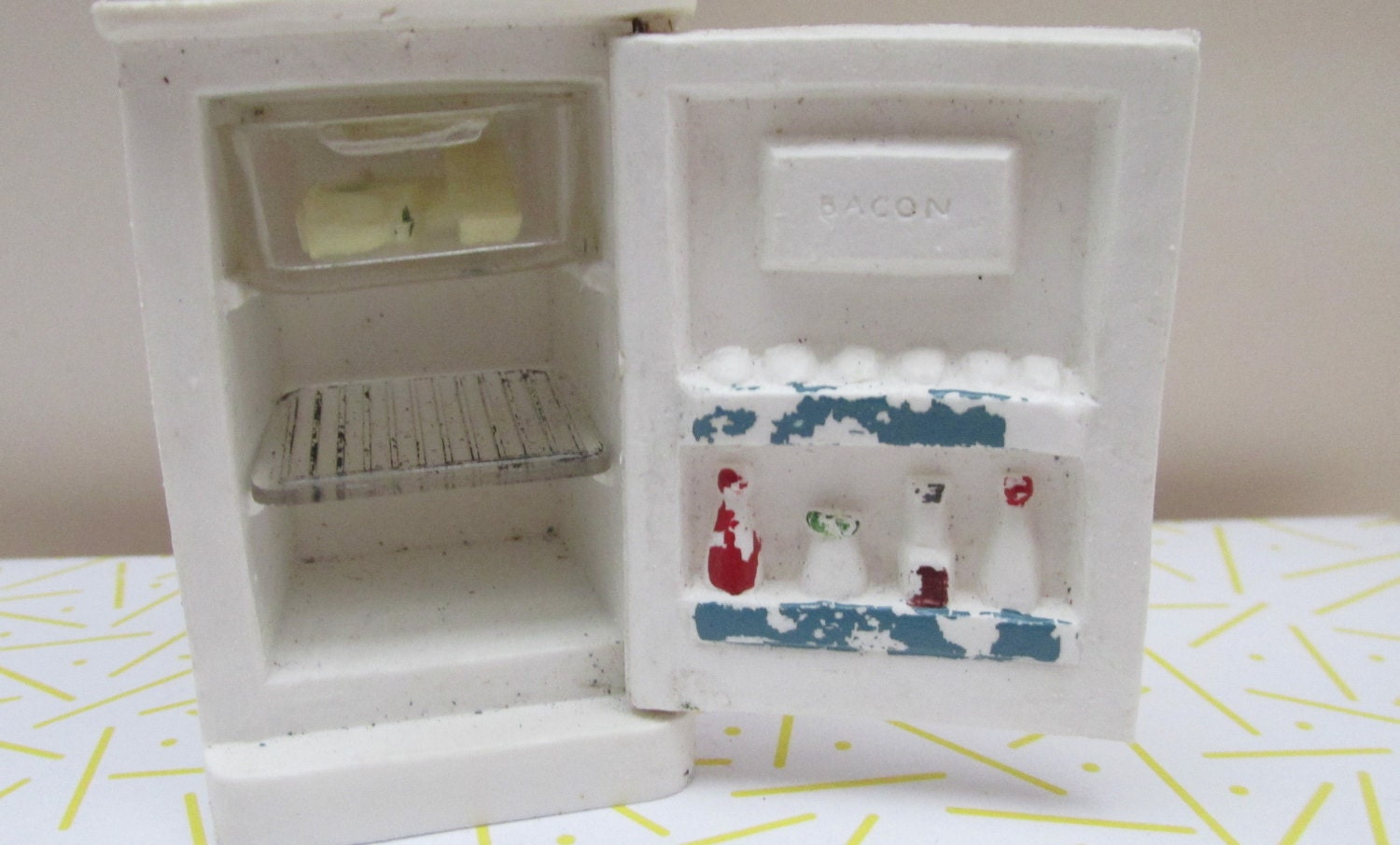 Vintage 1960s Early Barton Plastic Dolls House Refrigerator