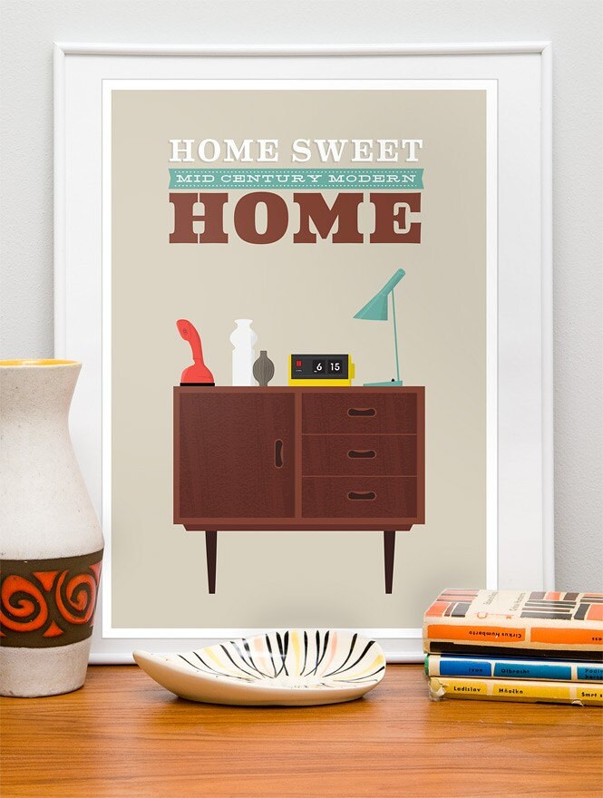 Mid Century Modern Print,  Mid Century print, Danish Modern, retro, Housewarming,  vintage,  Typography  print   -  Home Sweet Home  A3