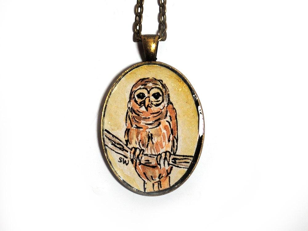 Barred Owl Original Watercolor Painting Art Pendant Necklace - SusanWindsor