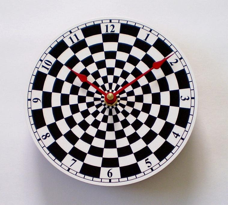 Items similar to checkered clock black and white checkers - Black and white kitchen clock ...