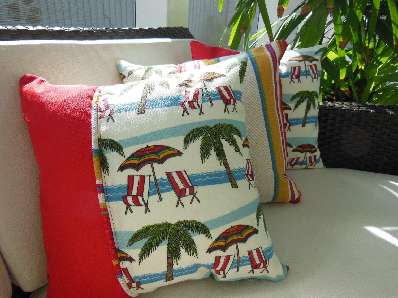 Palm Beach Style Pillows : Beach Pillow - Decorative Accent Throw Pillow - 15 x 15 inch Reversible - Palm Beach Poolside ...