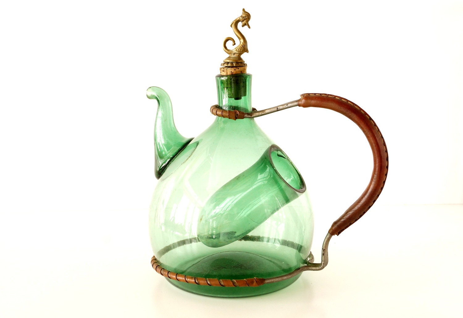 Vintage Italian Green Glass Wine Carafe with Metal and Leather Handle and Ice Chiller (Hand-Blown Glass) - ThirdShift