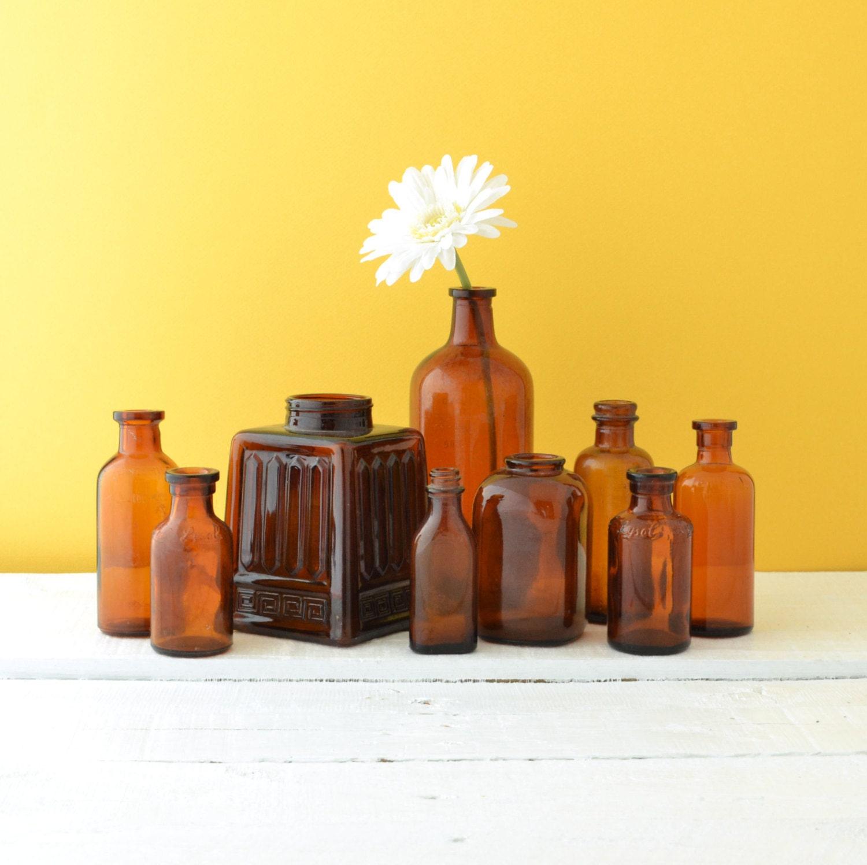 Antique Brown Glass Bottles - Amber Glass Bottles - Vintage Bottles - Instant Collection - Rustic Wedding Decoration - Set of 9