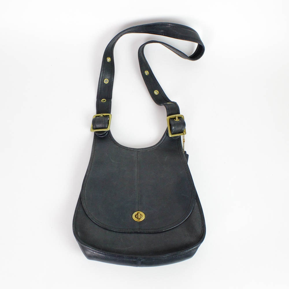 Coach leather hobo  1970s crescent saddle bag NAVY BLUE  made in New ...