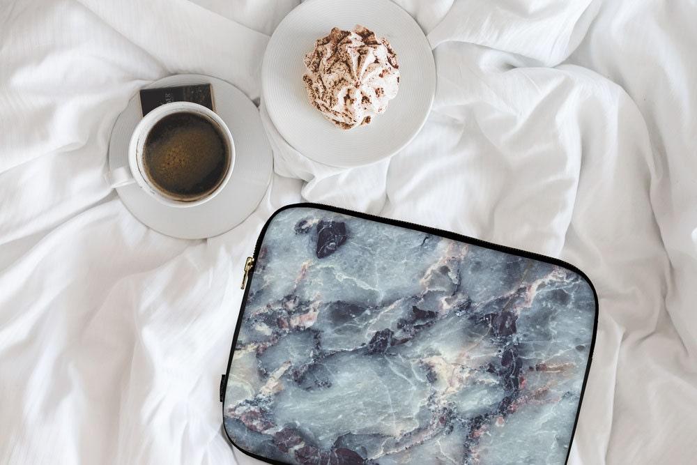 Electric Blue Marble Marble Print Marble Design Neoprene Laptop Sleeve MacBook Case Laptop Case Carry Case Laptop Bag  lspp044