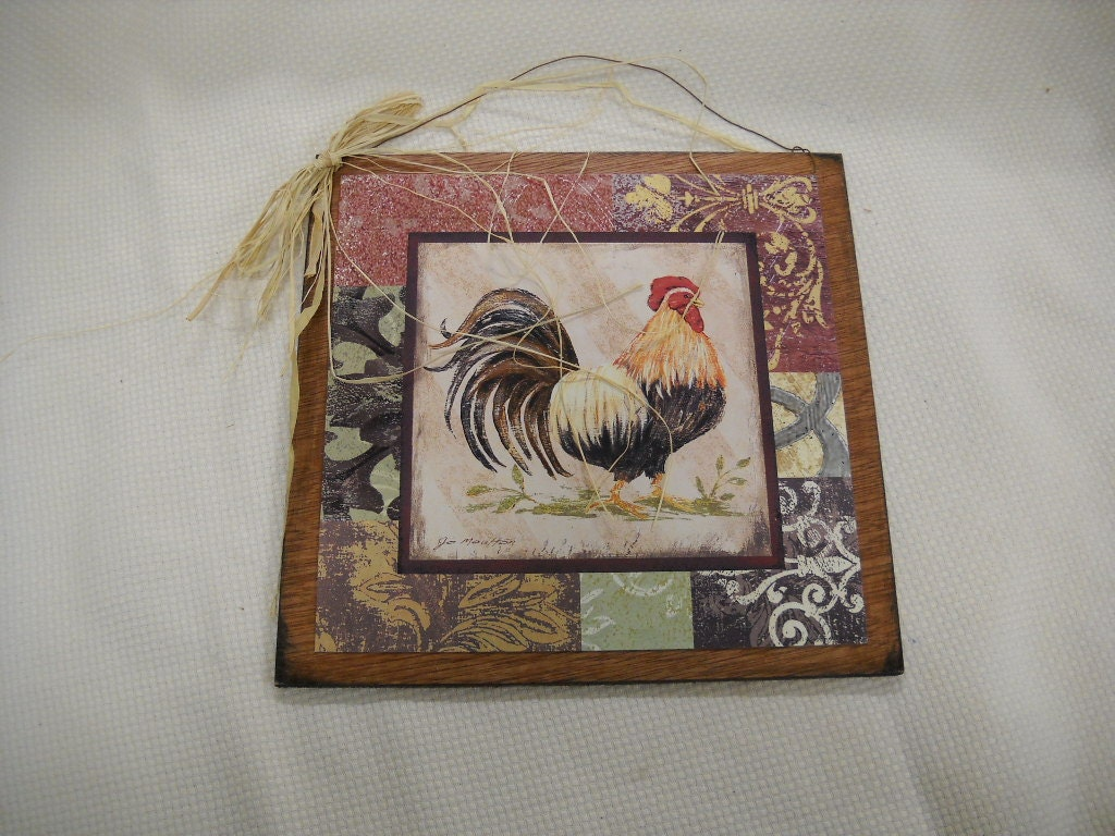 French Country Wall Decor Kitchen : Items similar to country rooster kitchen wooden wall art