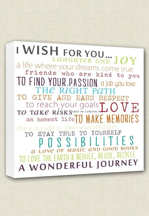 Wish for child nursery canvas word wall art by for Word wall art