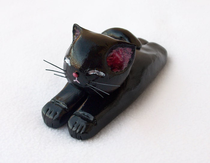 Black Cat Figurine, Handmade Polymer Clay OOAK Cat Sculpture, Cute Cat Ornament - ThreeLittleCatsShop