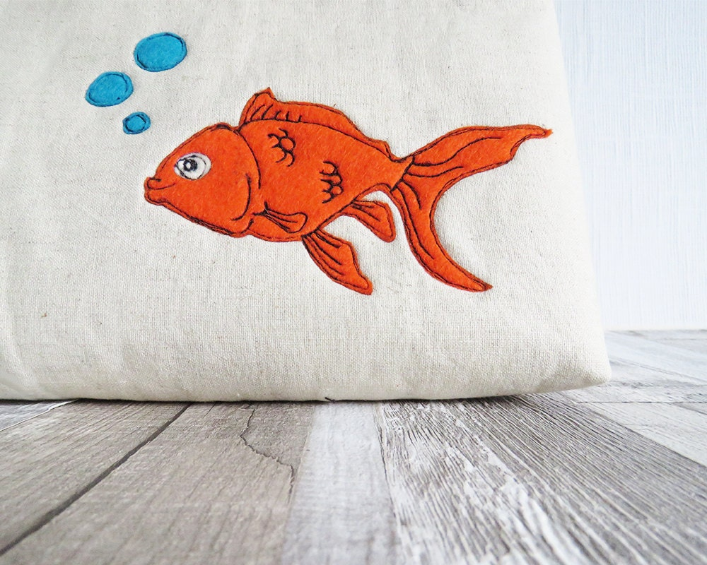 Goldfish make up bag wash bag zipped purse cosmetics bag makeup bag cosmetics purse orange fish turquoise toiletry bag makeup purse