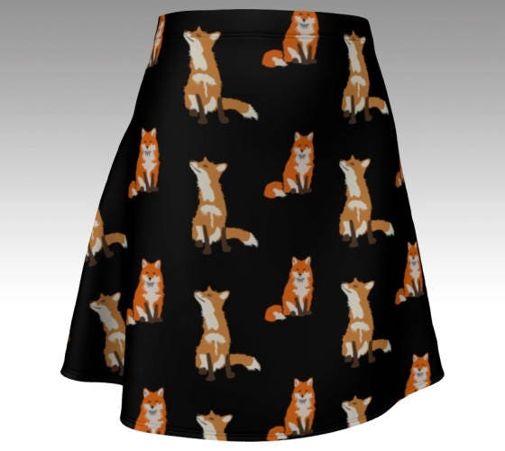 Fox skater skirt black mini stretchy fitted foxes size xs s m l xl cute animals unique printed skirt alternative fashion cartoon unusual