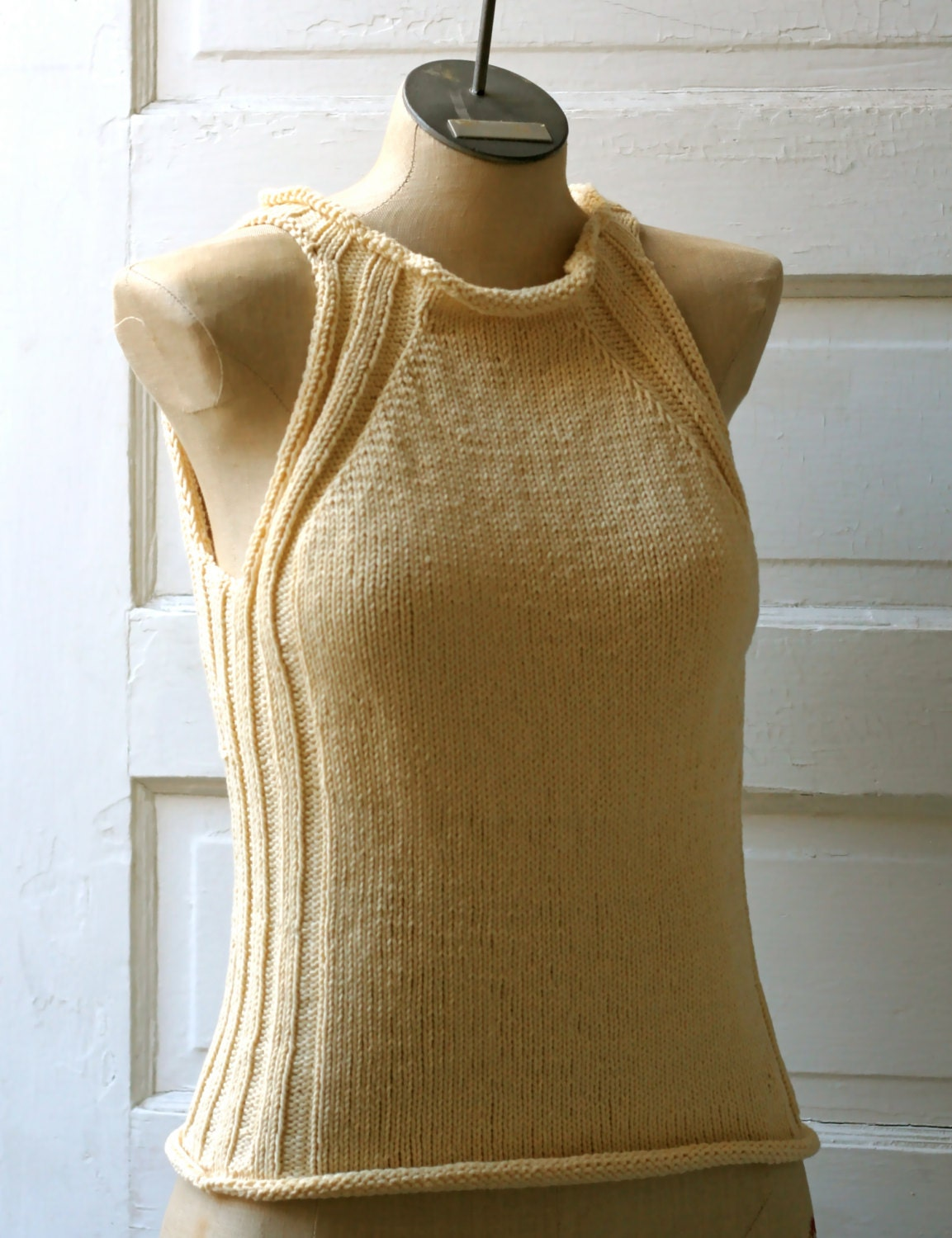 Made to Order: Cream Hand Knitted Cotton Fit and Flatter Tank Top with Curvy Ribbing Detail - AmyLaRoux