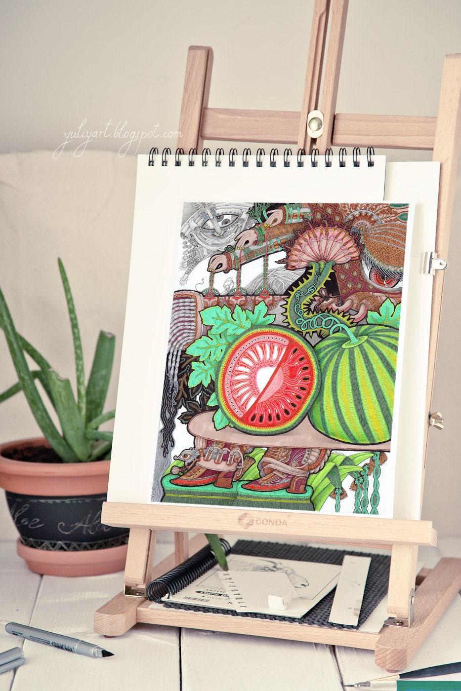 watermelon botanical print kitchen decor living room by