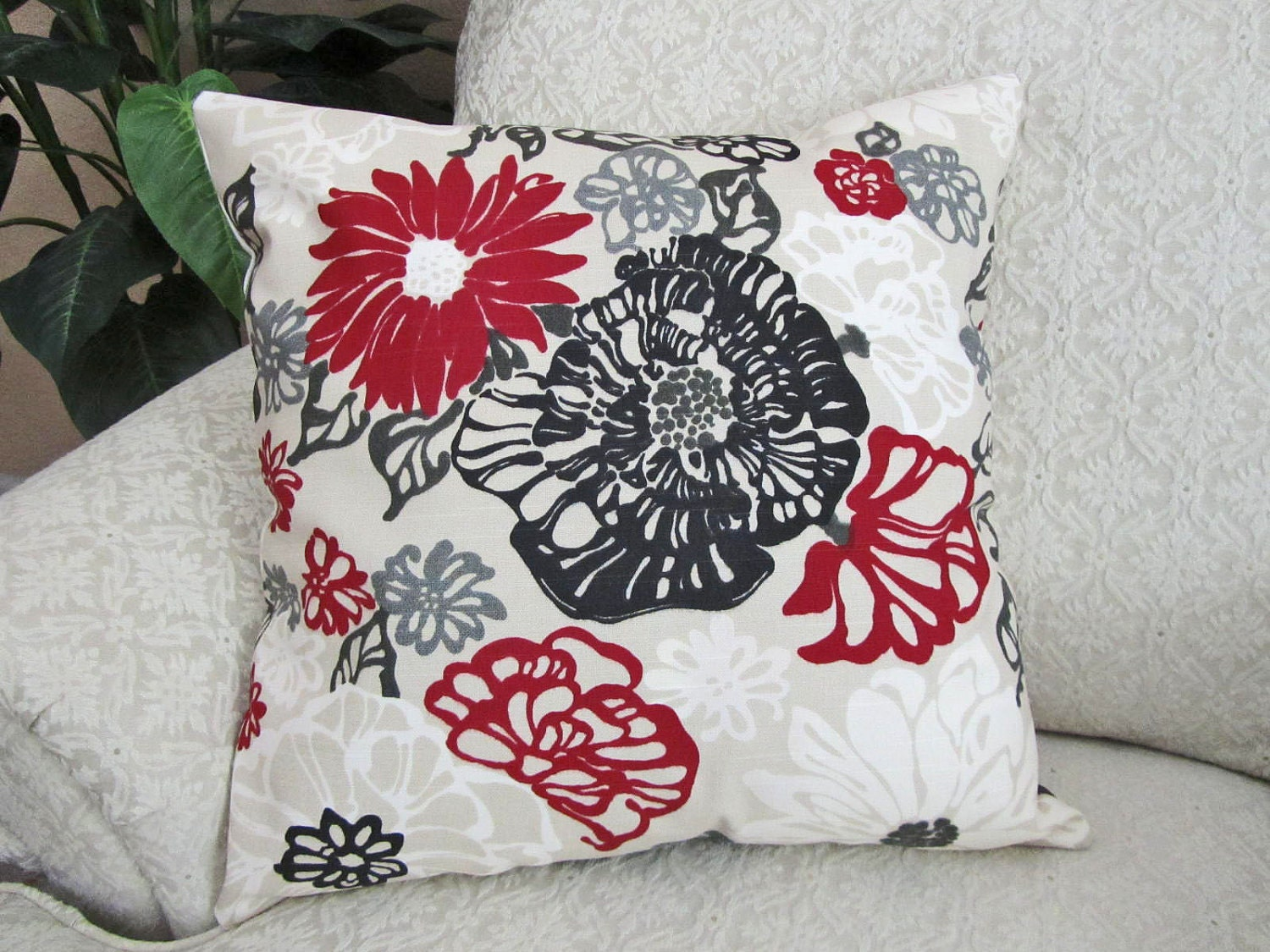 Decorative Pillows Red And Black : Throw Pillow Cover Decorative Red Black Gray by asmushomeinteriors