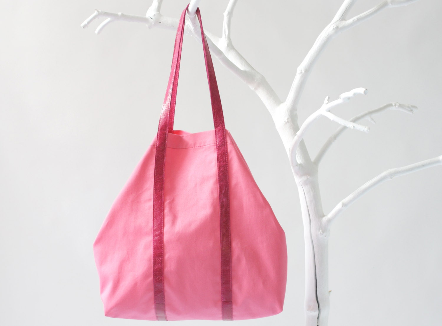 Cotton Shopper in Vibrant Pink with Twin Top Handels in Fuchsia, tote bag, shoulder bag, beach bag - alexbender