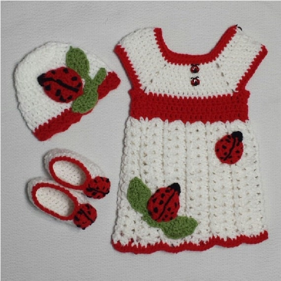 Crochet ladybug white dress, ladybug hat, ladybug booties, newborn dress, infant dress, baby dress, toddler dress, ladybug dress - HebaCrochet