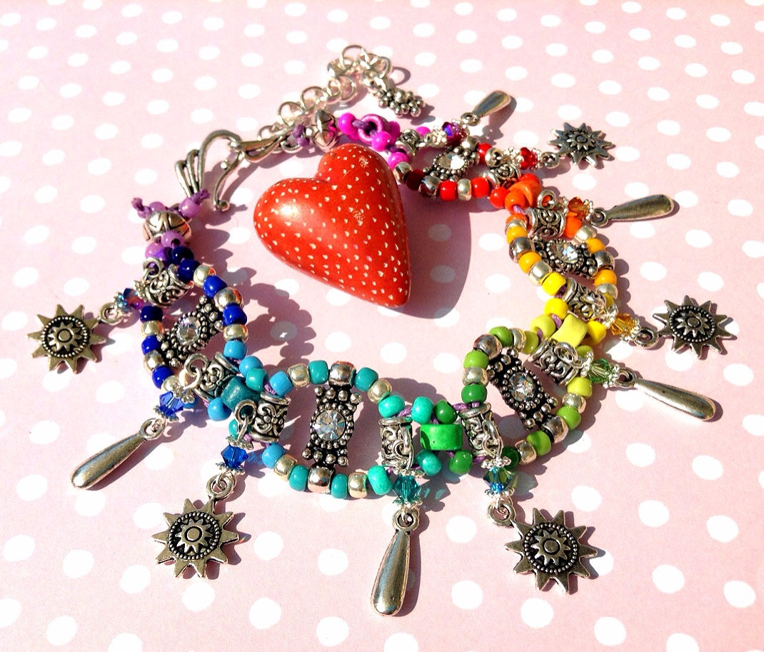 Rainbow and Sunshine Rhinestone and Swarovski Anklet