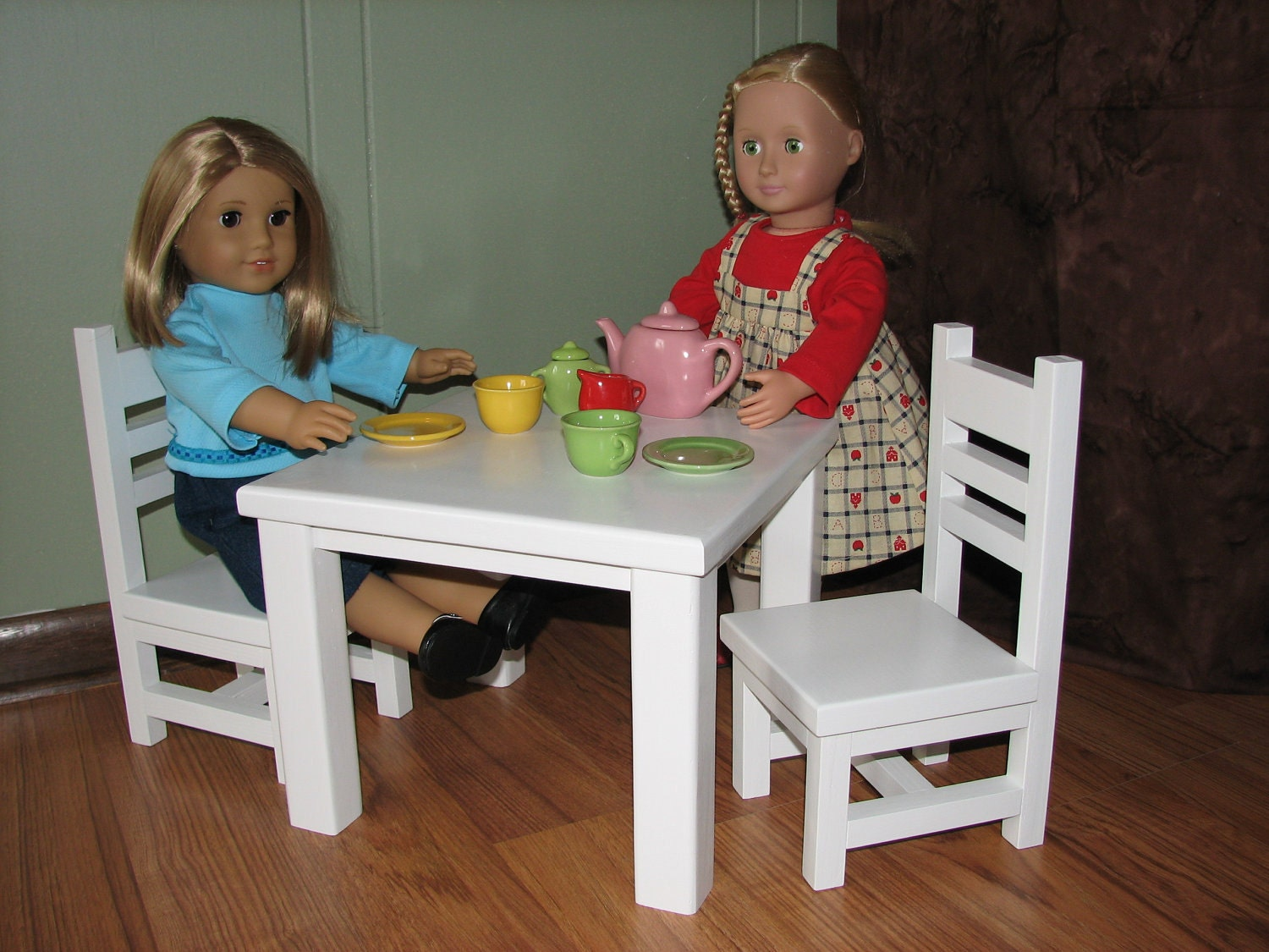 items similar to cafe breakfast table and chairs set for american girl or other 18 doll april. Black Bedroom Furniture Sets. Home Design Ideas