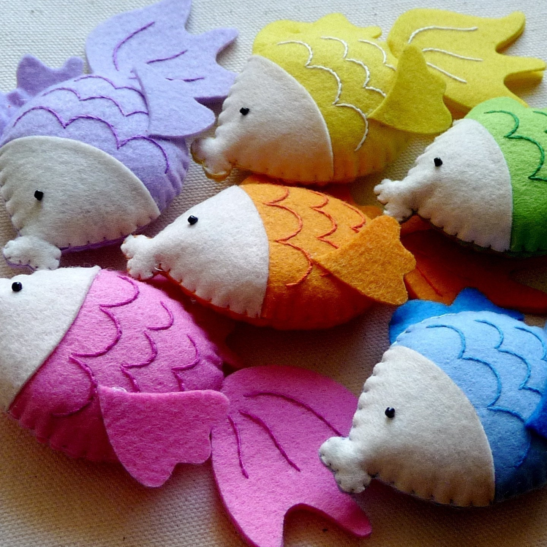 Gertrude the goldfish stuffed felt animal fish pink by michima for Fish stuffed animals