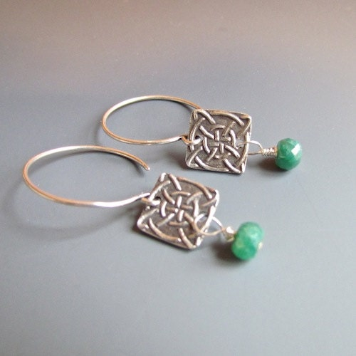 Sterling Silver-Celtic Knot-Genuine Emerald Earrings - PamHurst