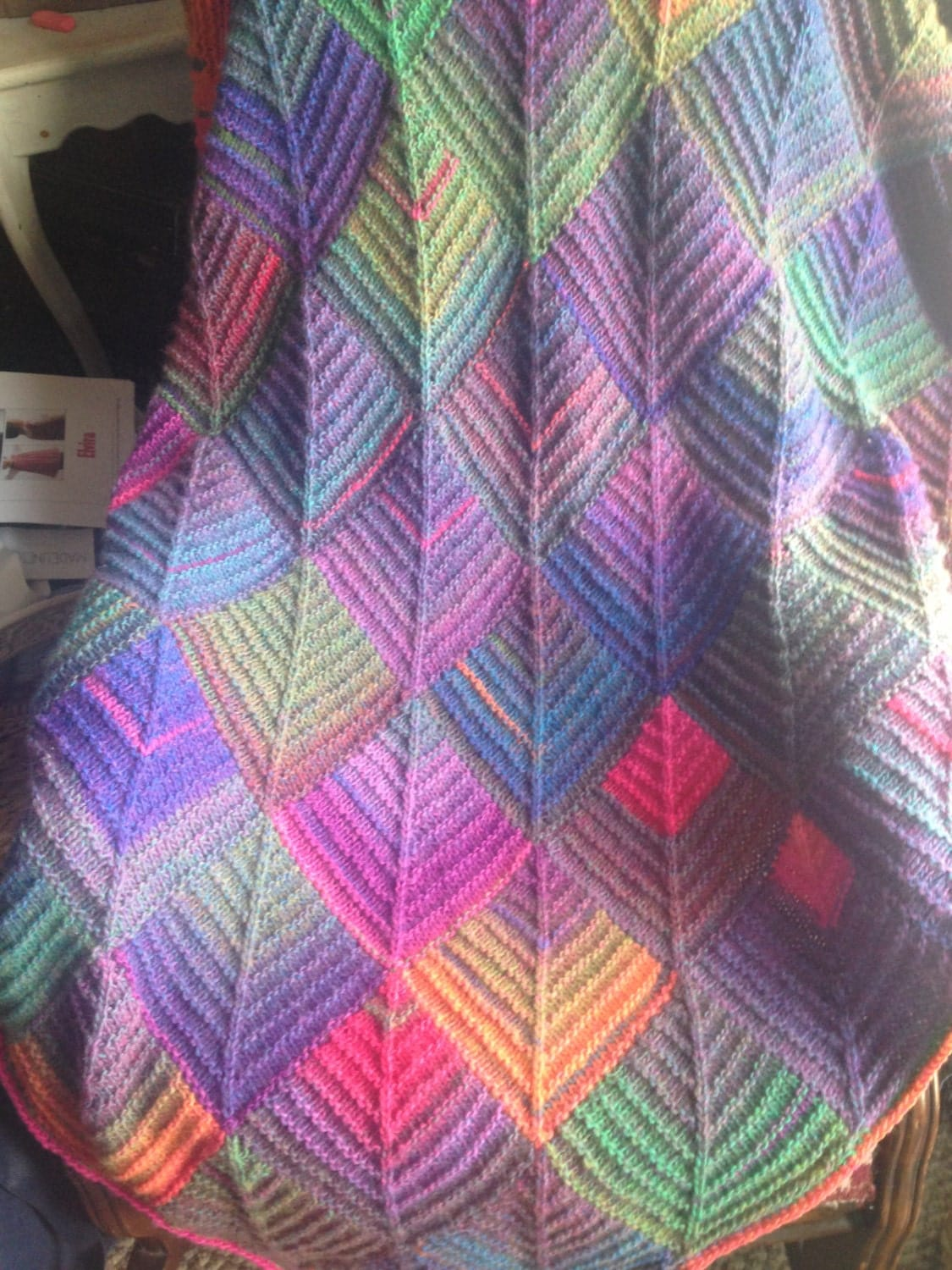 Colorburst Mitered Square Knit Afghan By Maysieknits On Etsy