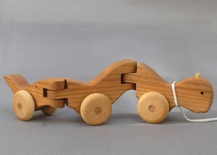 Wiggle Worm Pull Toy wooden Waldorf Animal on Wheels gift for ...
