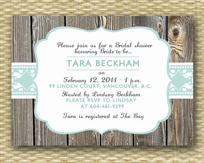 bridal or baby shower invitation any color scheme rustic vintage