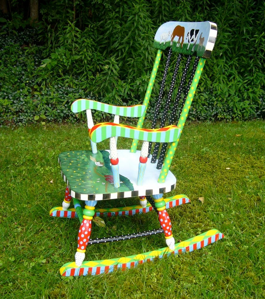 Child s hand painted rocking chair - Hand Painted Child S Rocking Chair In Bright Colors By