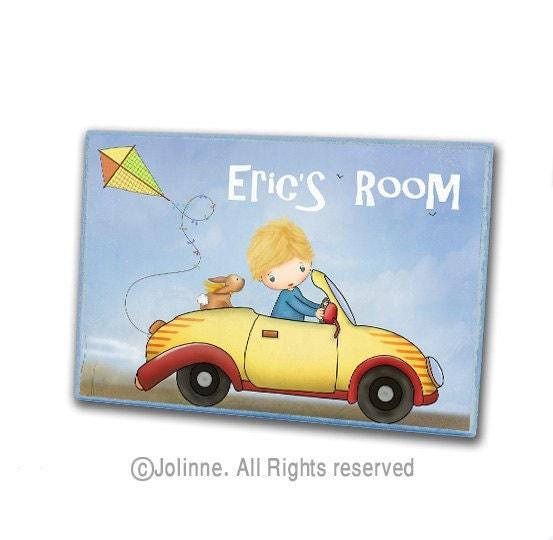Custom name boys door sign for kids room or nursery by jolinne for Signs for kids rooms