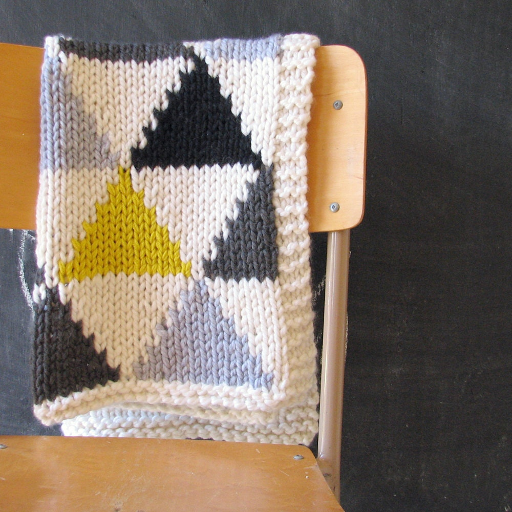 Knitted Triangle Pattern Baby Blanket in Grey/Black/Neon Yellow for Bassinet, Stroller, or Car Seat - YarningMade