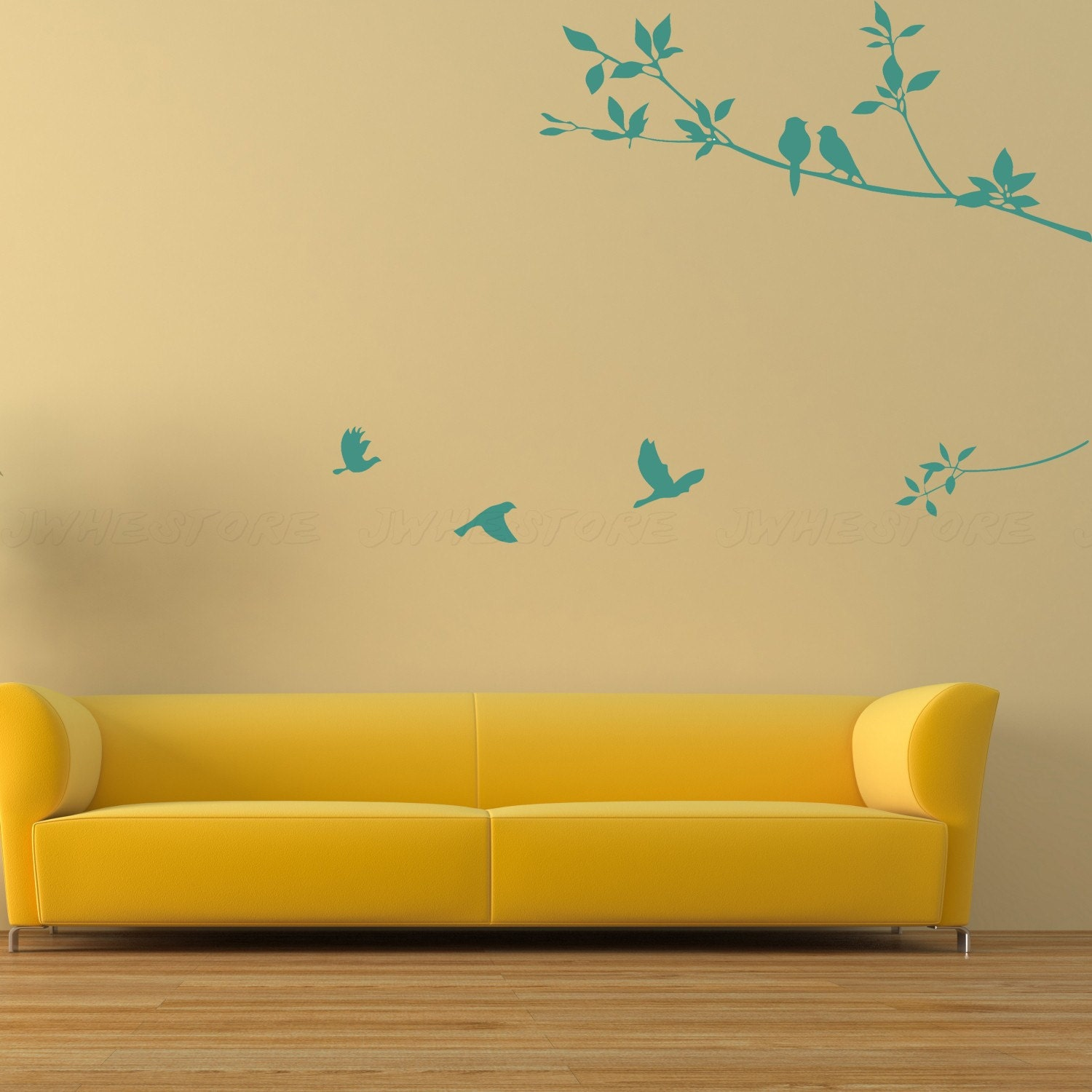 branch wall decals birds wall stickers bedroom by jwhestore