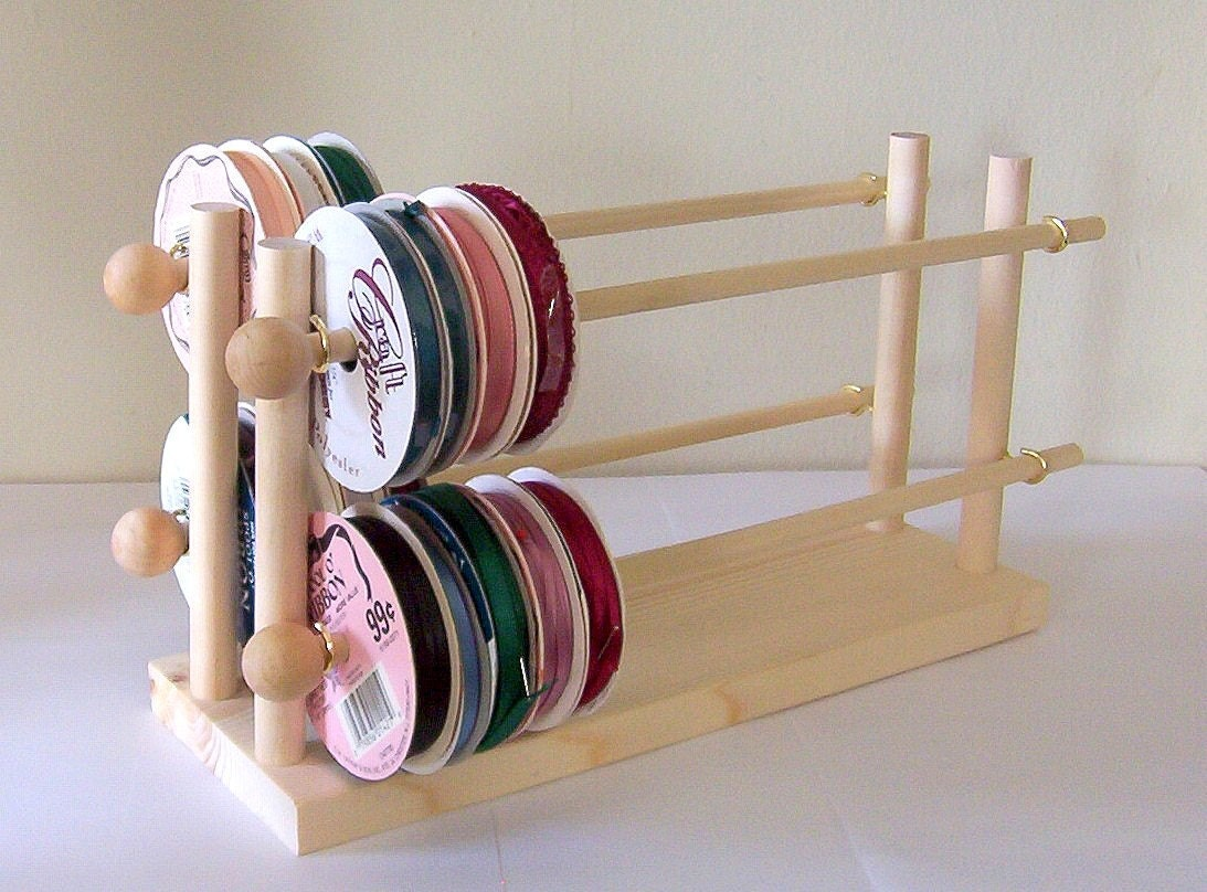 Ribbon Holder Storage Rack Organizer Holds 75 Spools - DeesNecklaceHolders