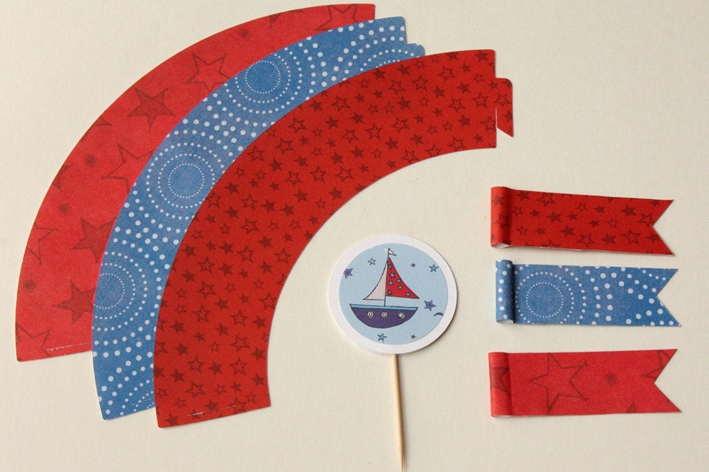 Nautical Cupcake Wrappers, Cupcake Toppers and Straw Wrappers - FREE SHIPPING