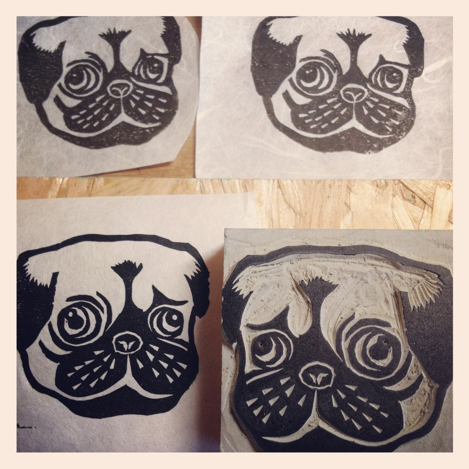 Items similar to pug dog stamp hand carved linoleum quot