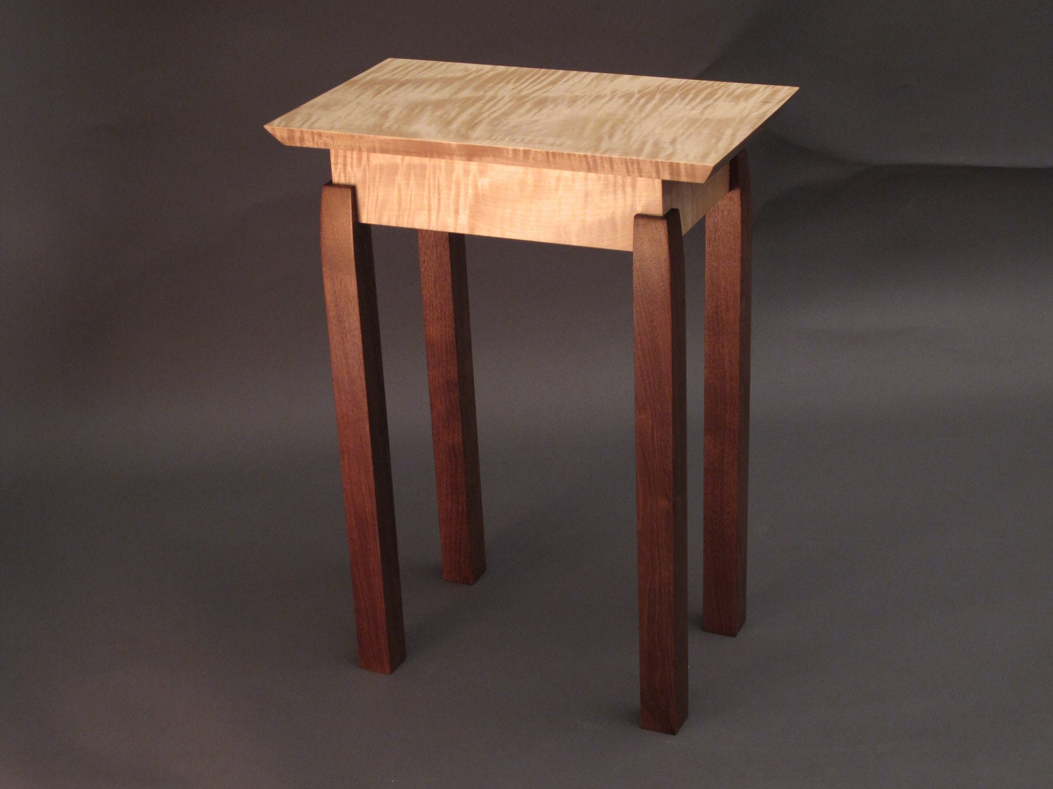 Narrow end table tiger maple walnut by mokuzaifurniture for Small narrow side table
