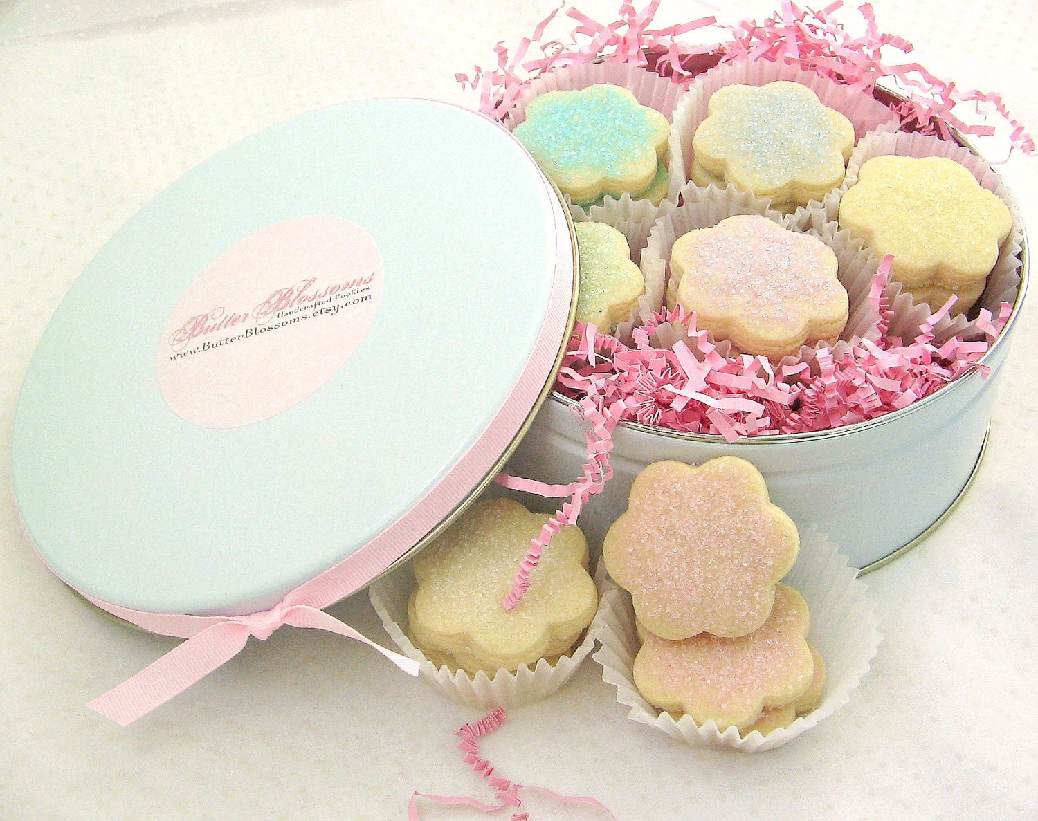 Springtime Easter Gift Idea - Pretty in Pink Cookie Gift Tin - 21 Shortbread Flowers  - You Choose Flavor & Colors - ButterBlossoms